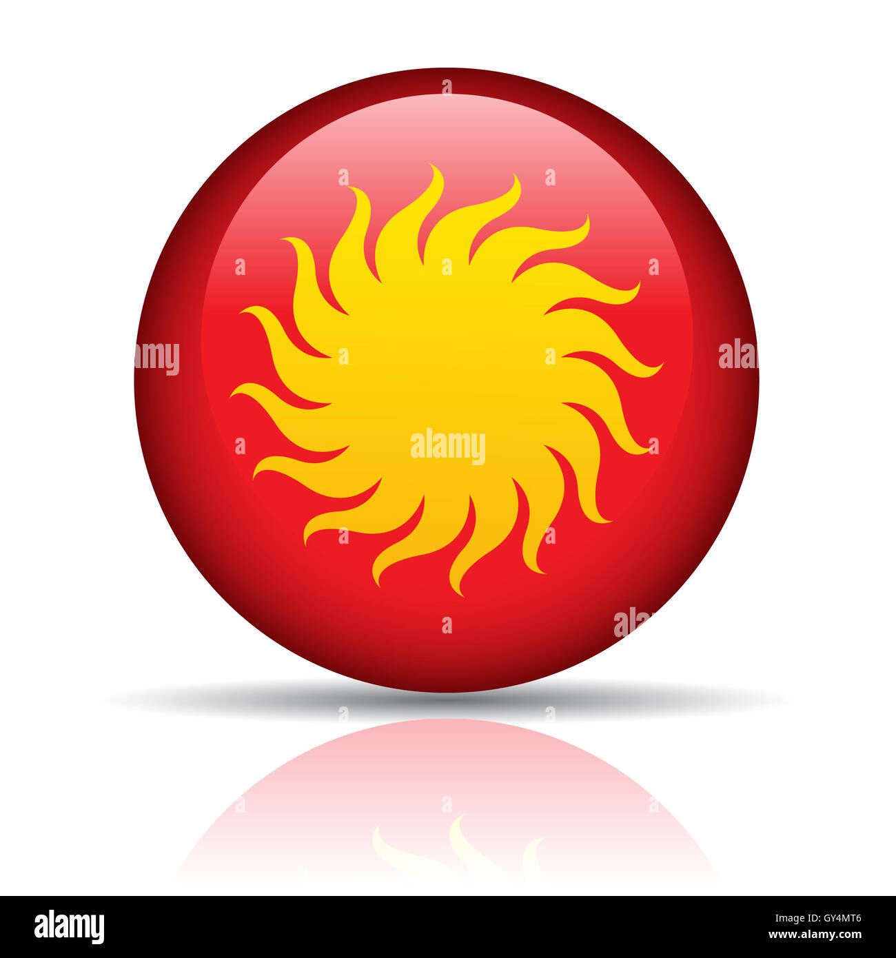 Sun in red button isolated on white - Stock Image