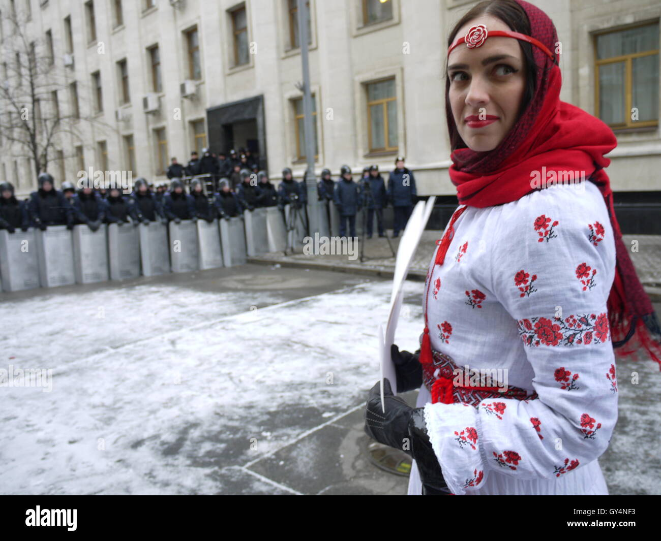 A girl protest against repression in Kiev, near presidential palace, during revolution of dignity in December 2013 - Stock Image
