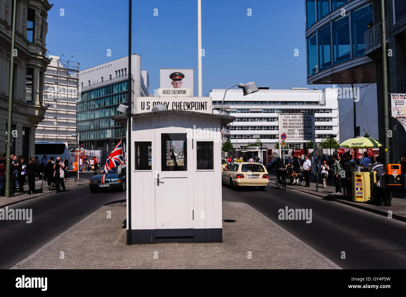 Berlin, Germany. Checkpoint Charlie was the name of the best-known Berlin Wall crossing point between East Berlin - Stock Image