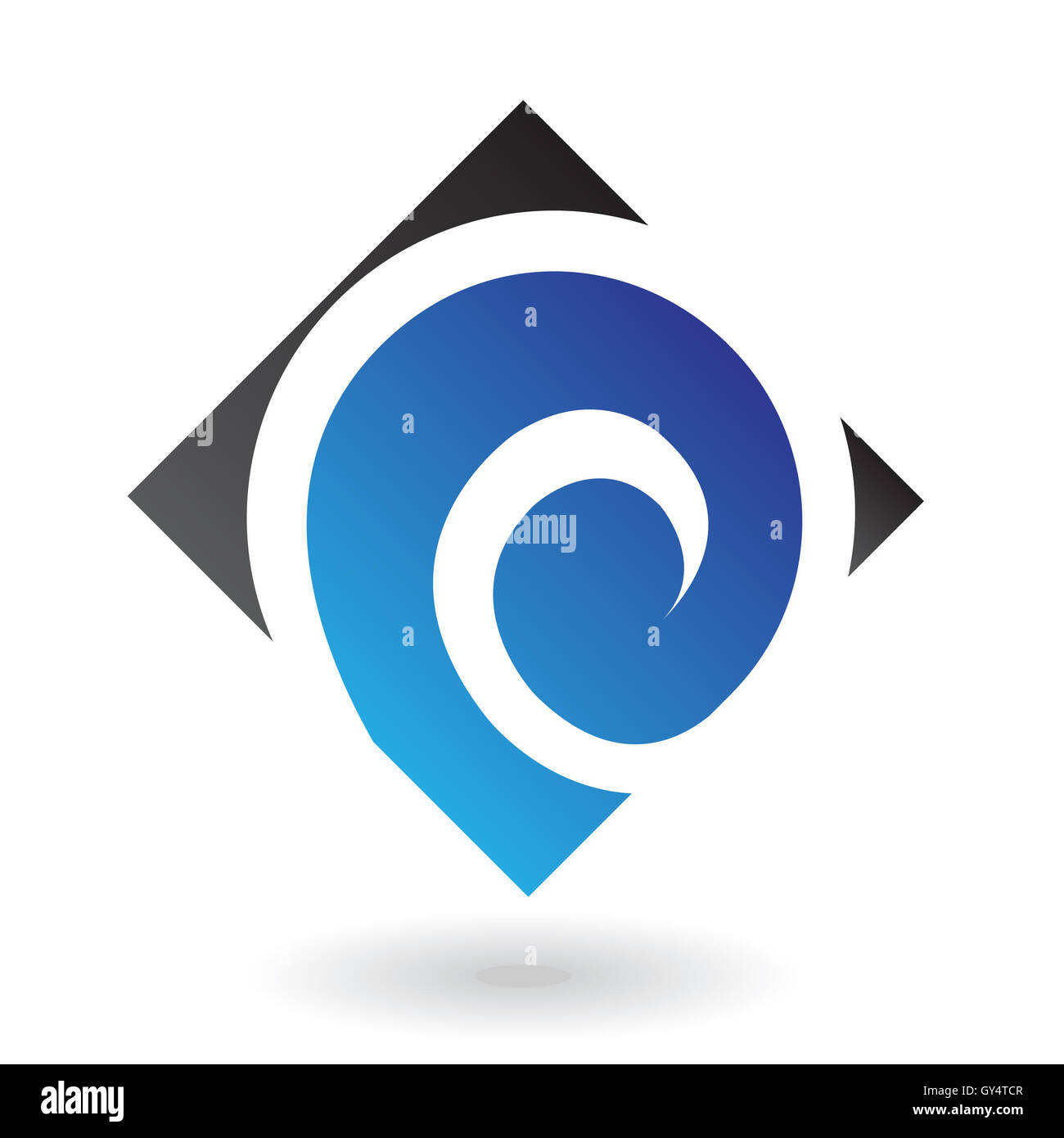Blue and black logo icon and graphic design element - Stock Image