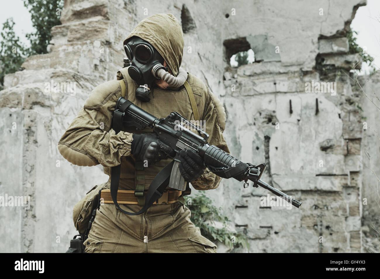 Nuclear post apocalypse survivor - Stock Image