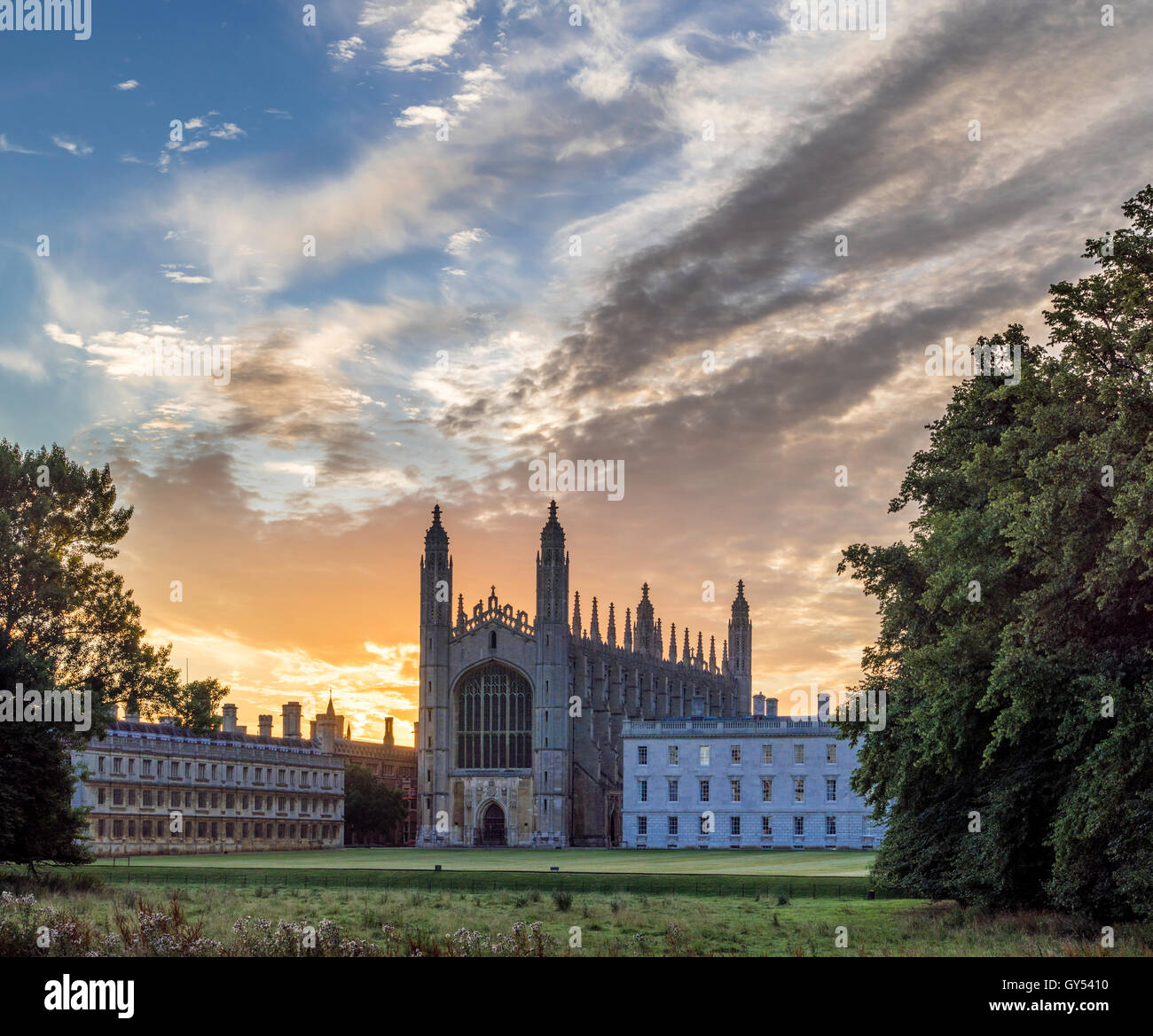 Dawn over King's College Chapel, Cambridge, UK - Stock Image