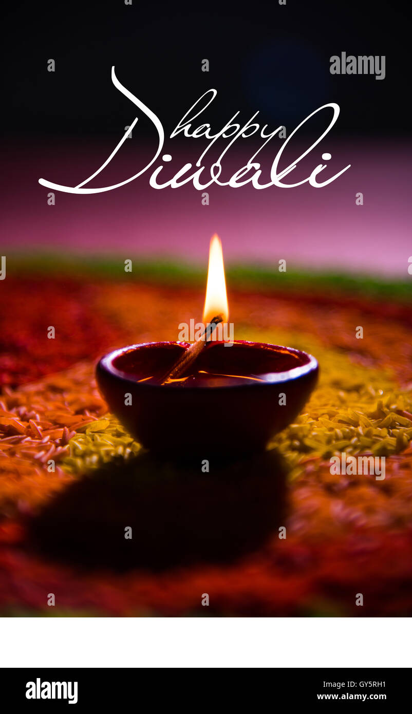 Happy Diwali Or Happy Deepavali Greeting Card Made Using A