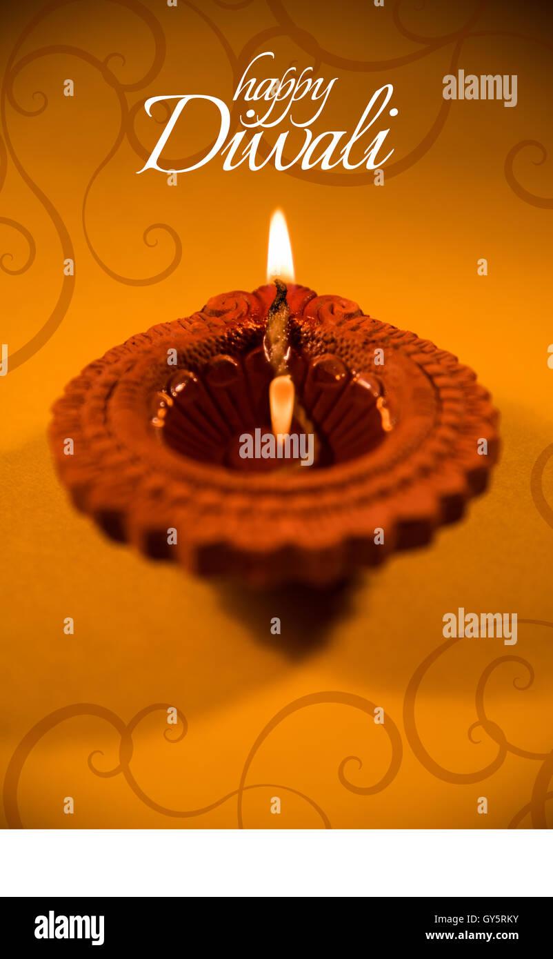 Happy Diwali Or Happy Deepavali Greeting Card Made Using A