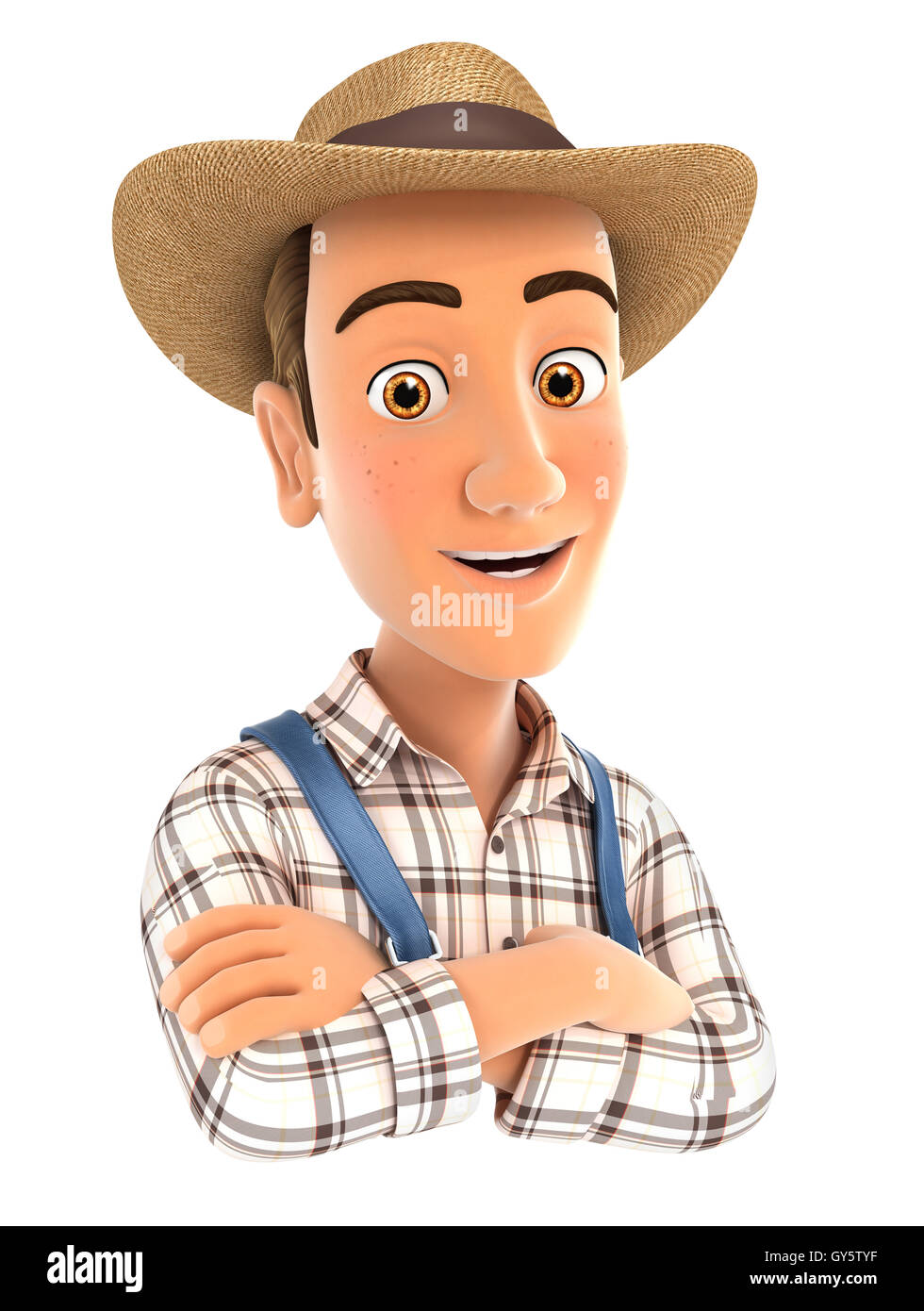 3d farmer with arms crossed, illustration with isolated white background Stock Photo