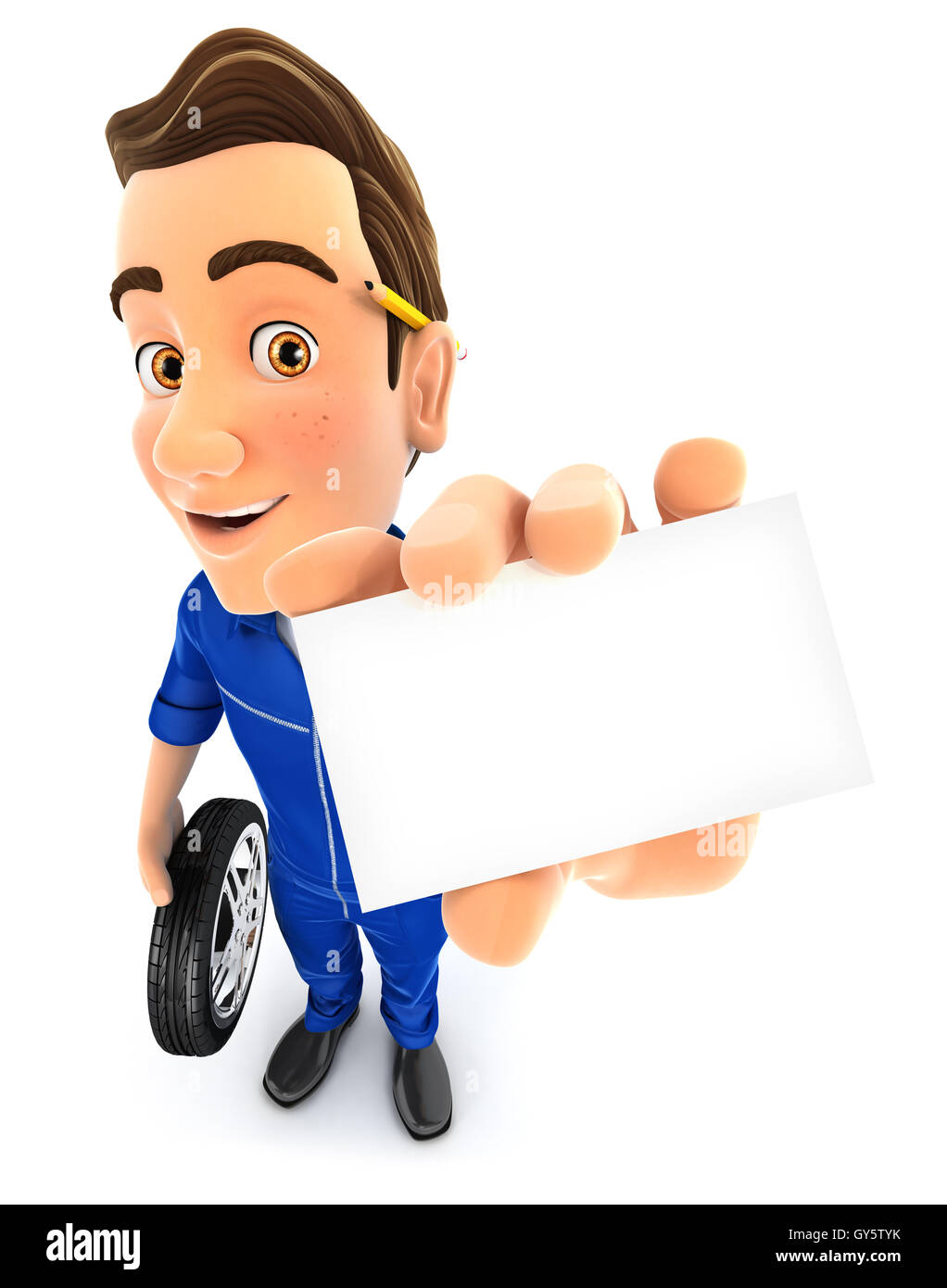 3d mechanic holding company card, illustration with isolated white background Stock Photo