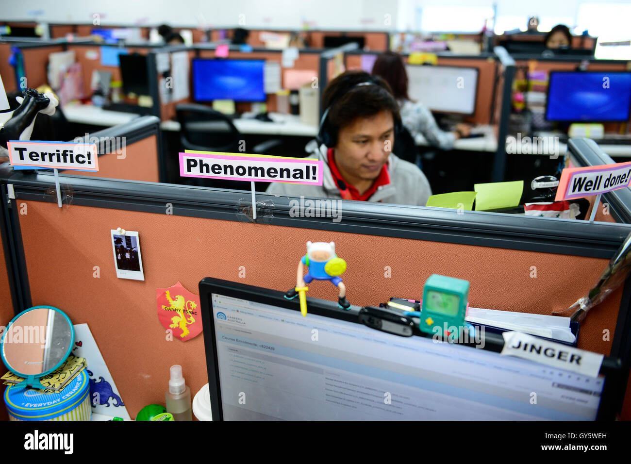 PHILIPPINES, Manila, KPO Knowledge Process Outsorcing, callcenter von Global Learning working for australian clients, Stock Photo