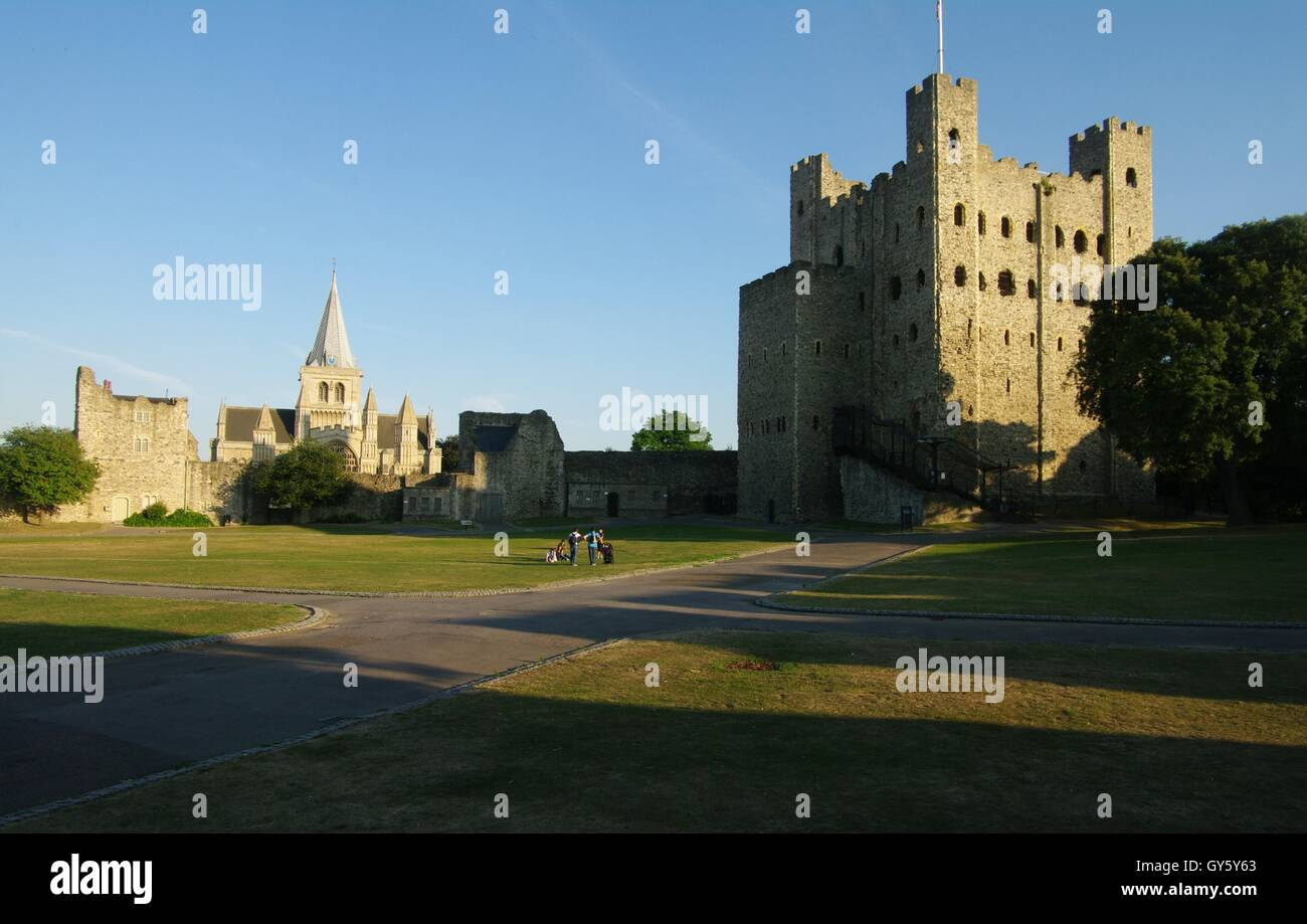 Rochester Castle and cathedral, Kent - Stock Image
