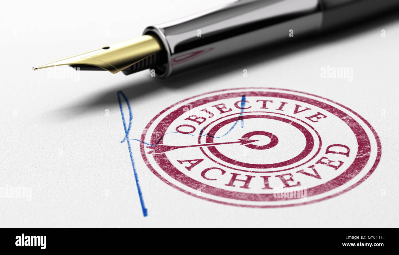 3D illustration of a rubber stamp where it is written objective achieved, fountain pen and sign over paper background. - Stock Image