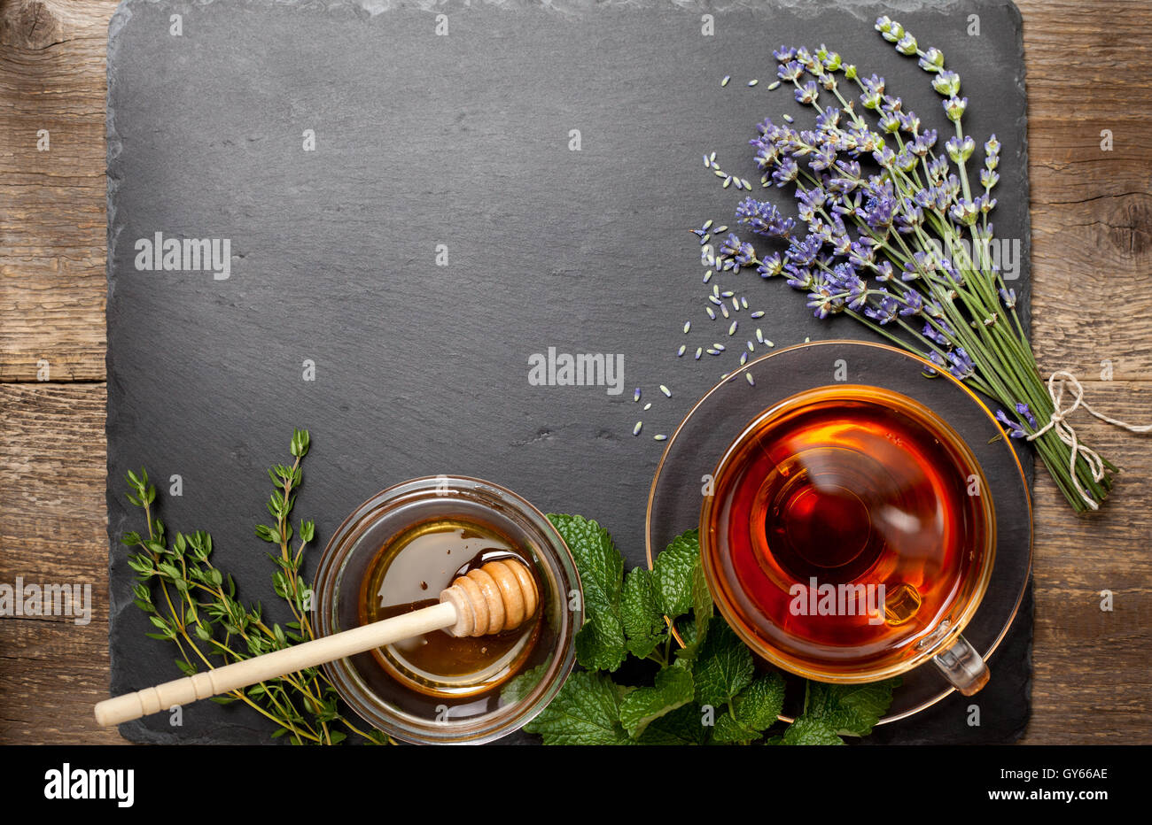 A Marble In A Cup Of Honey : Herbal tea in a glass cup honey different types of herbs