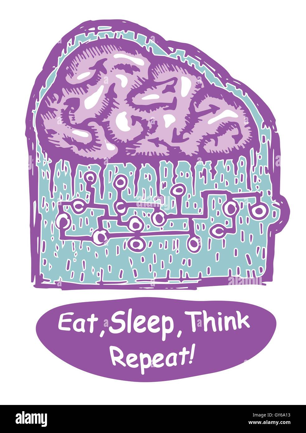Brain And Electronic Circuit With Eat Sleep Think Repeat Text Stock Draw Circuits Illustration Hand Isolated In White
