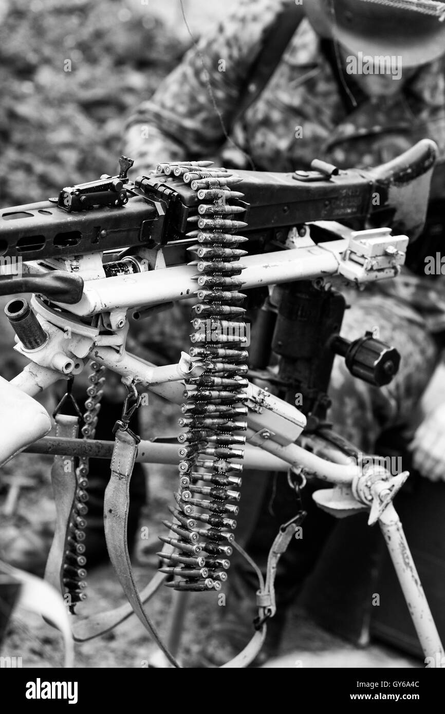 Machine Gun with Ammunition Clip Black and White Stock Photo