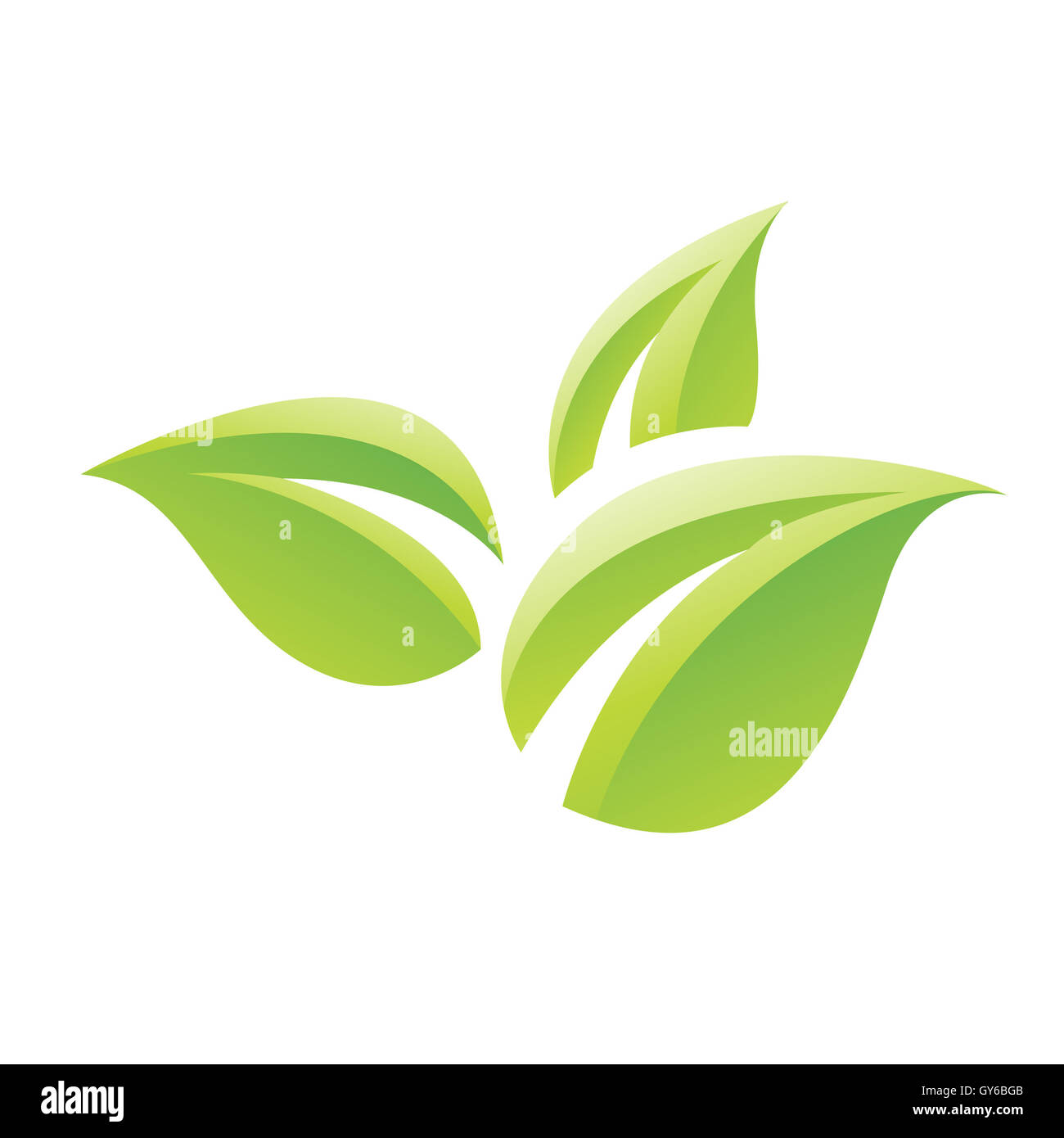 Illustration of Green Glossy Leaves Icon isolated on a white background - Stock Image