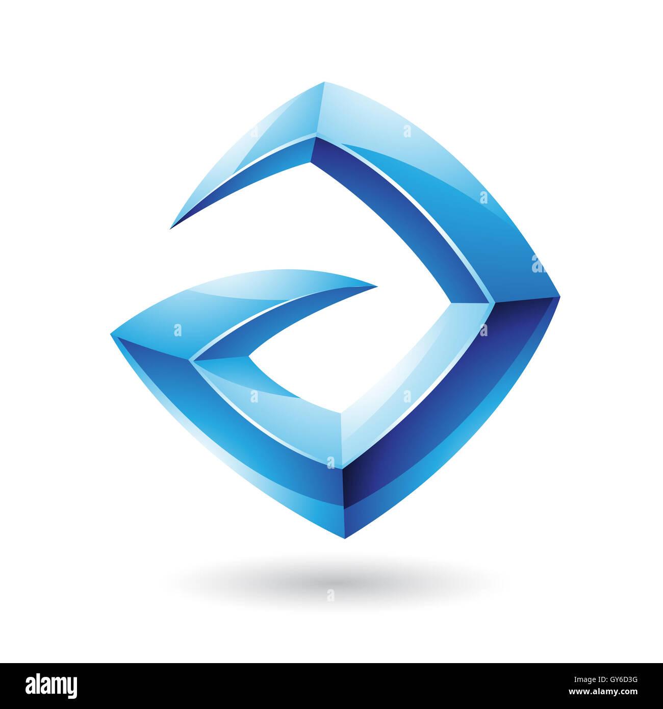 Vector Illustration of a 3d Sharp Glossy Blue Logo Shape based on Letter A - Stock Image