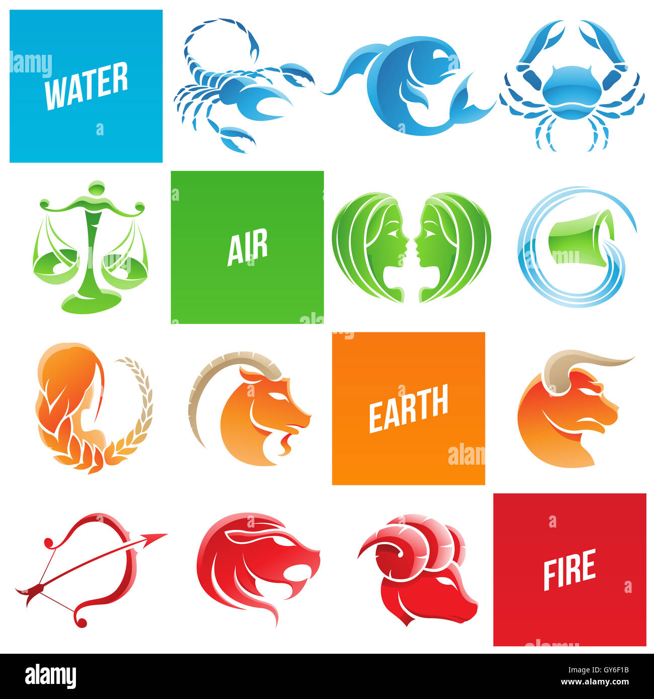 Vector Illustration of Colorful Zodiac Star Signs Stock Photo