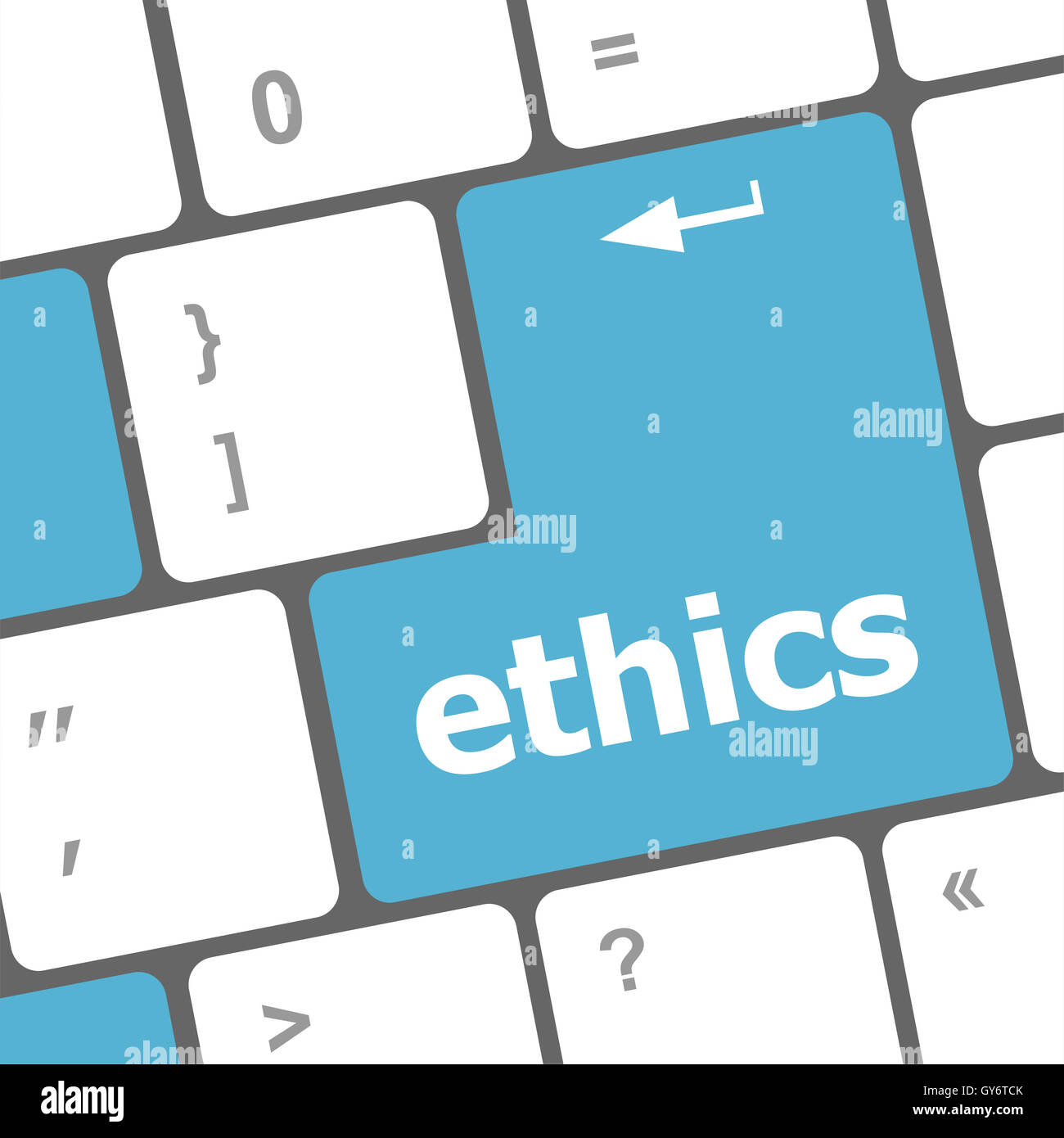 A keyboard with a key reading ethics - Stock Image