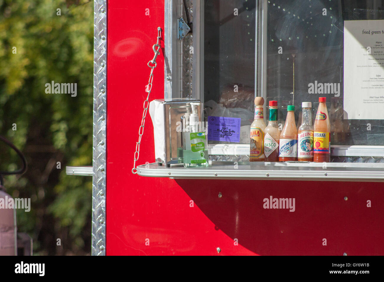 Condiments at a Food Truck Stock Photo