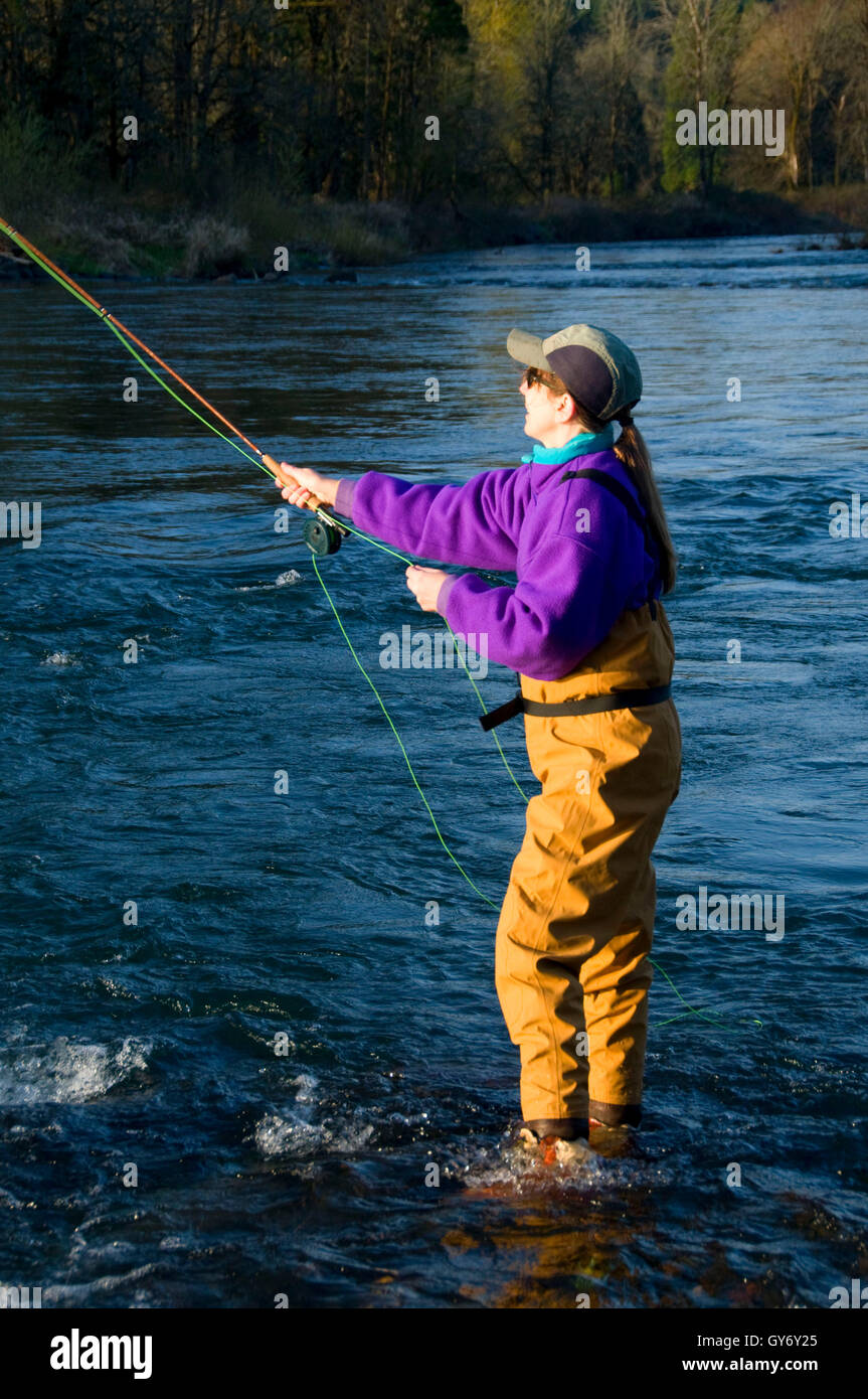 Flyfishing on McKenzie River, Power Canal EWEB Access Site, Lane County, Oregon - Stock Image