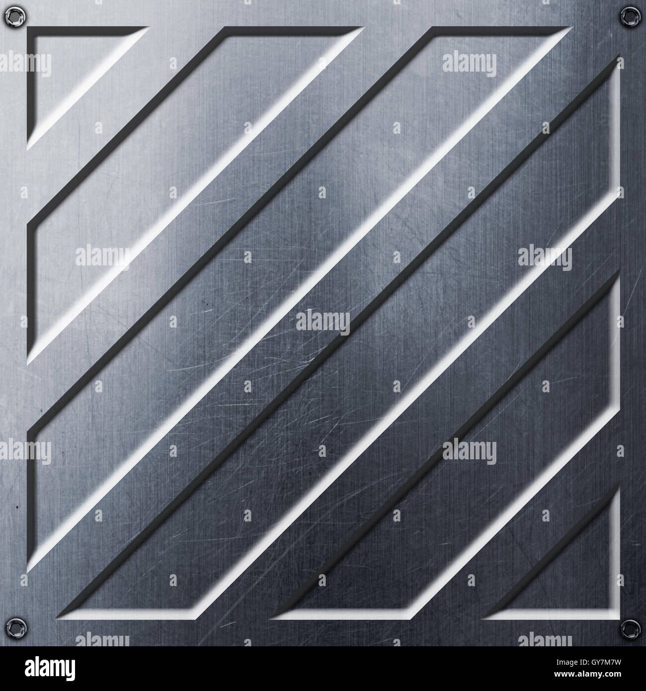 scifi wall. metal wall and rivet. metal background and texture 3d illustration. technology concept. - Stock Image
