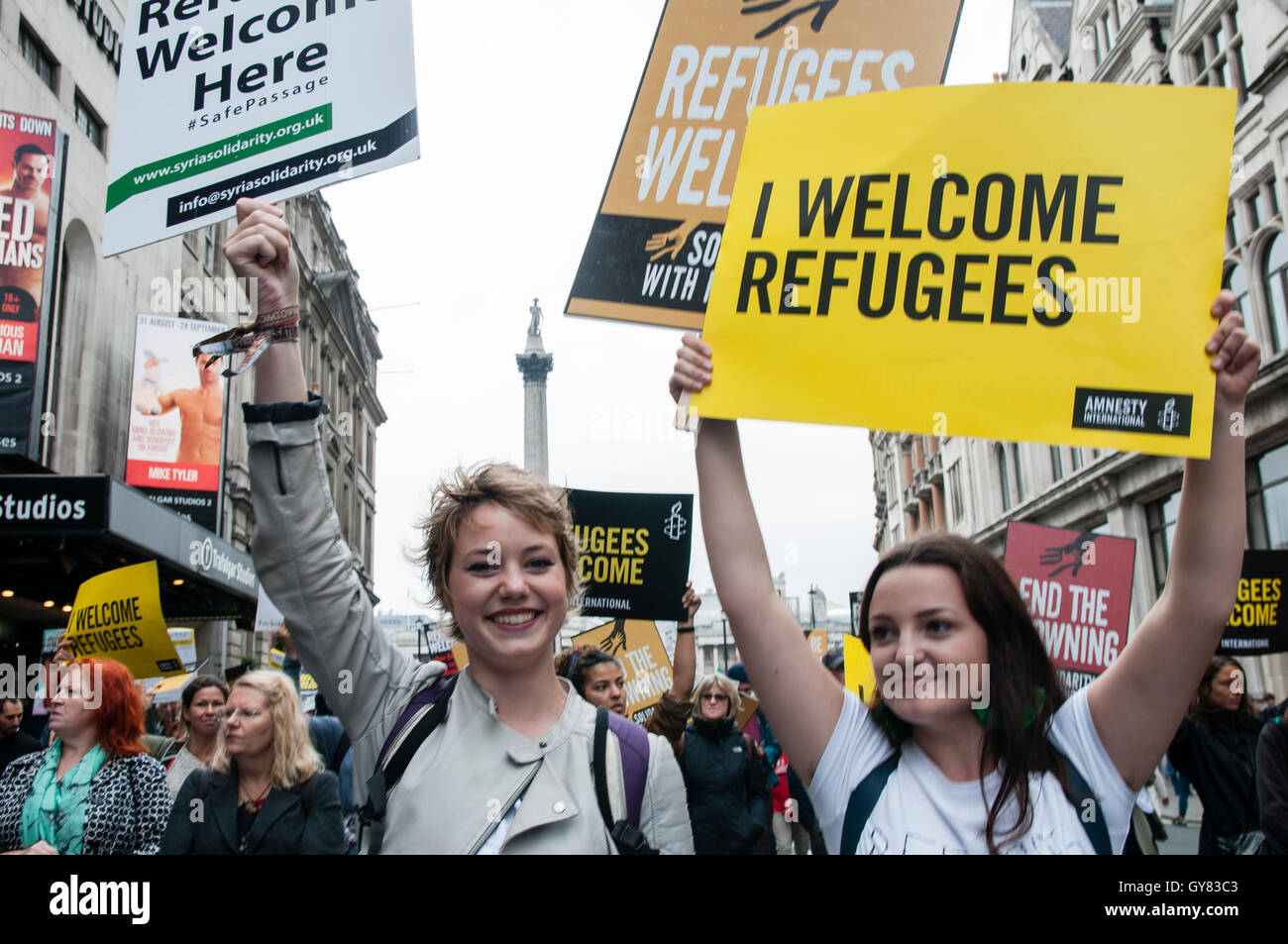 London, UK. 17th Sept, 2016. Thousands march through Central London urging the government to take more action in Stock Photo