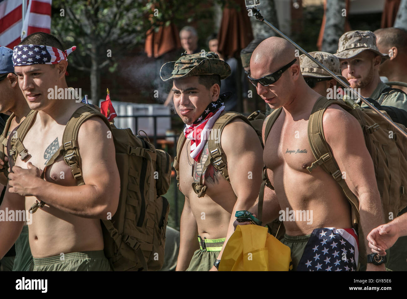 New York, 17th Sept, 2016. The start of the Silkies Hike. The event aims to raise awareness of the post traumatic - Stock Image