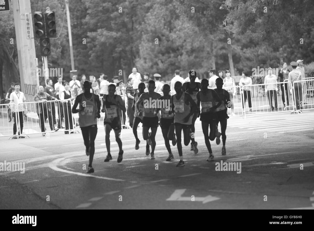 Beijing, Beijing, China. 17th Sep, 2016. Participants run at the Beijing Marathon in Beijing on September 17, 2016. - Stock Image