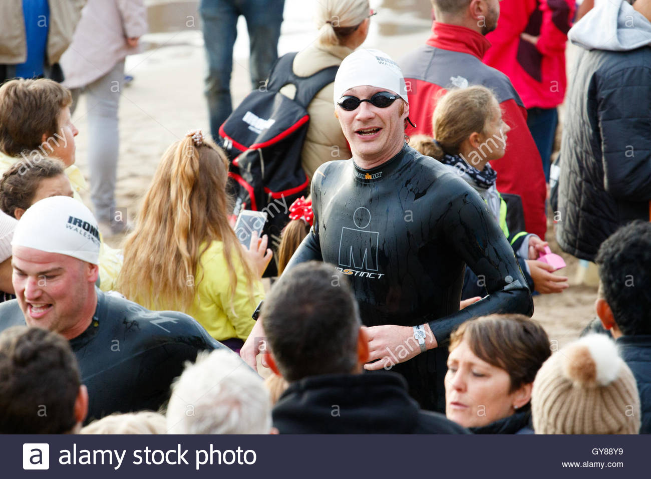 Ironman, North Beach, Tenby, Pembrokeshire, UK. 18th Sept, 2016.  Ironman Wales now in it's 6th year starts - Stock Image