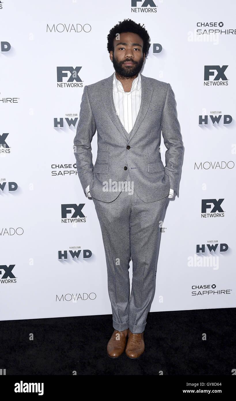 LOS ANGELES, CA - SEPTEMBER 17: Donald Glover SEE RANK Larry Karaszewski (R) arrives at the FX and Vanity Fair Pre - Stock Image