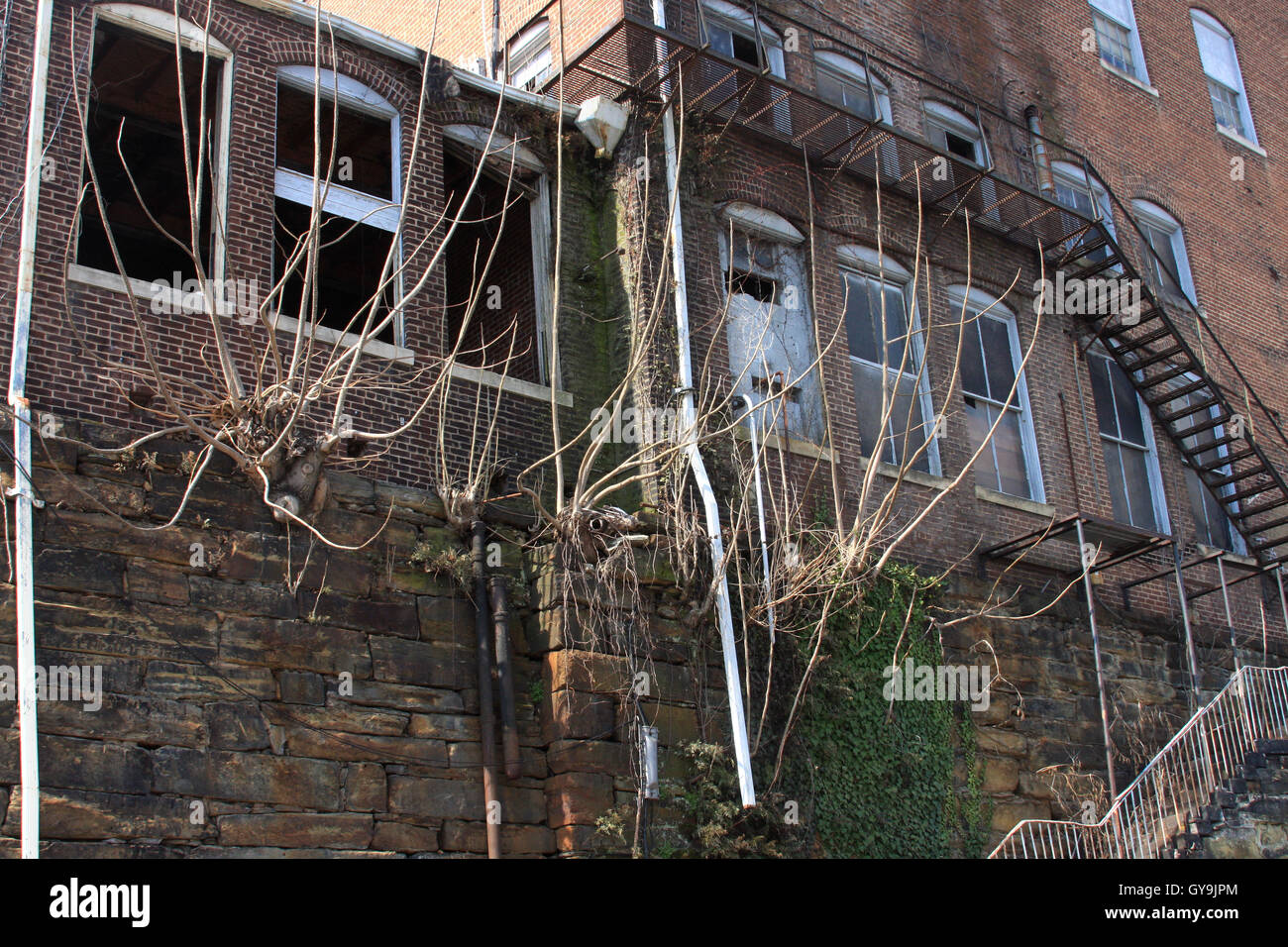 Stairs on old building on Commerce Street in Lynchburg, Virginia - Stock Image