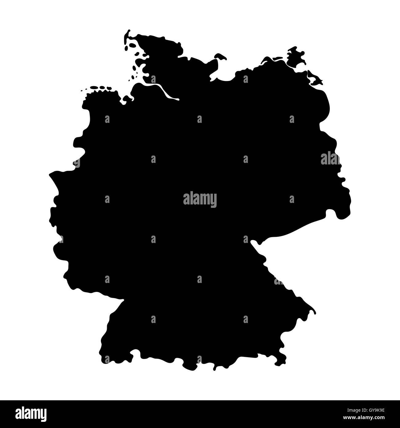 Map of Germany isolated on white background - Stock Image