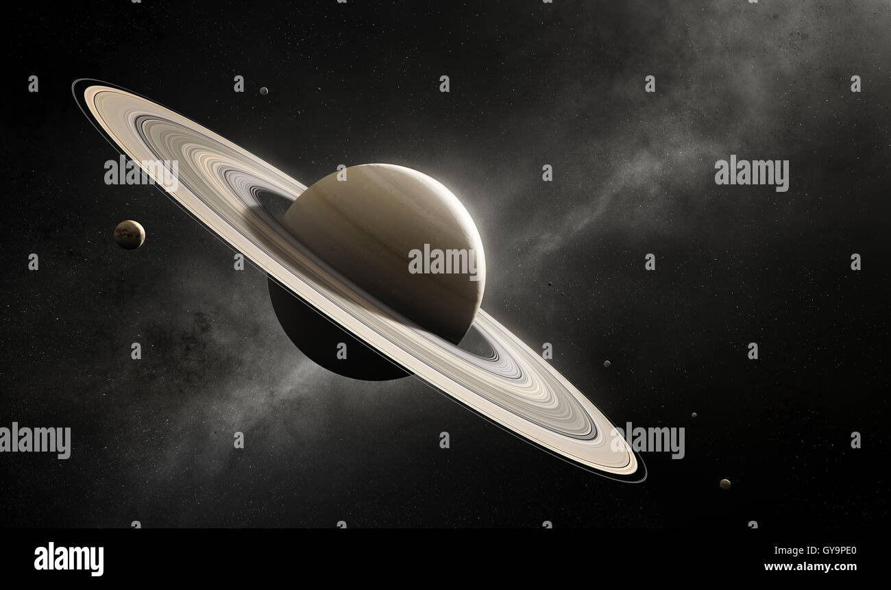 Planet Saturn in deep space with major moons according to scale (Elements of planet texture for 3d render furnished - Stock Image