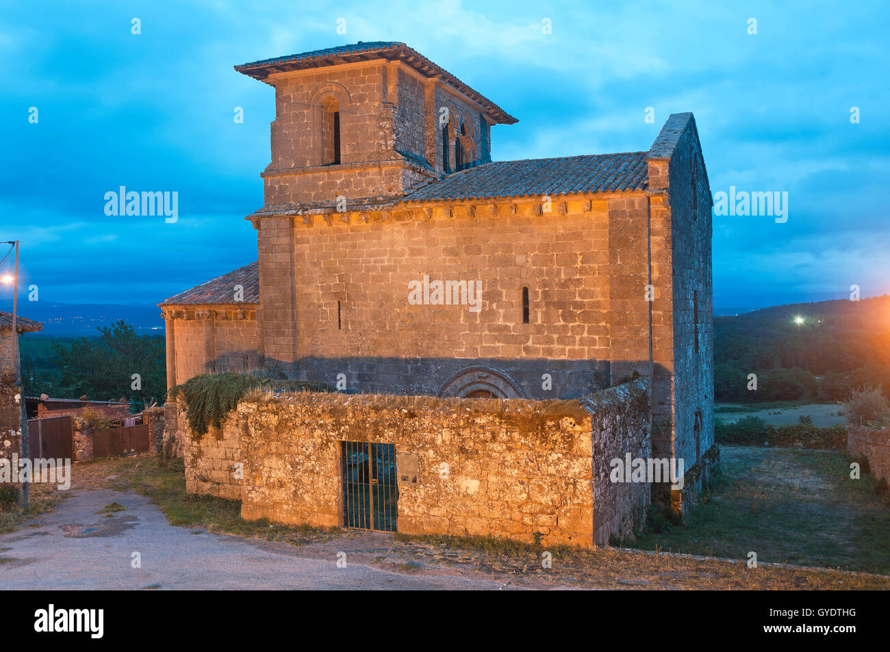 Church of the romanesque monastery of San Miguel-12th century, Eire, Lugo province, Region of Galicia, Spain, Europe - Stock Image