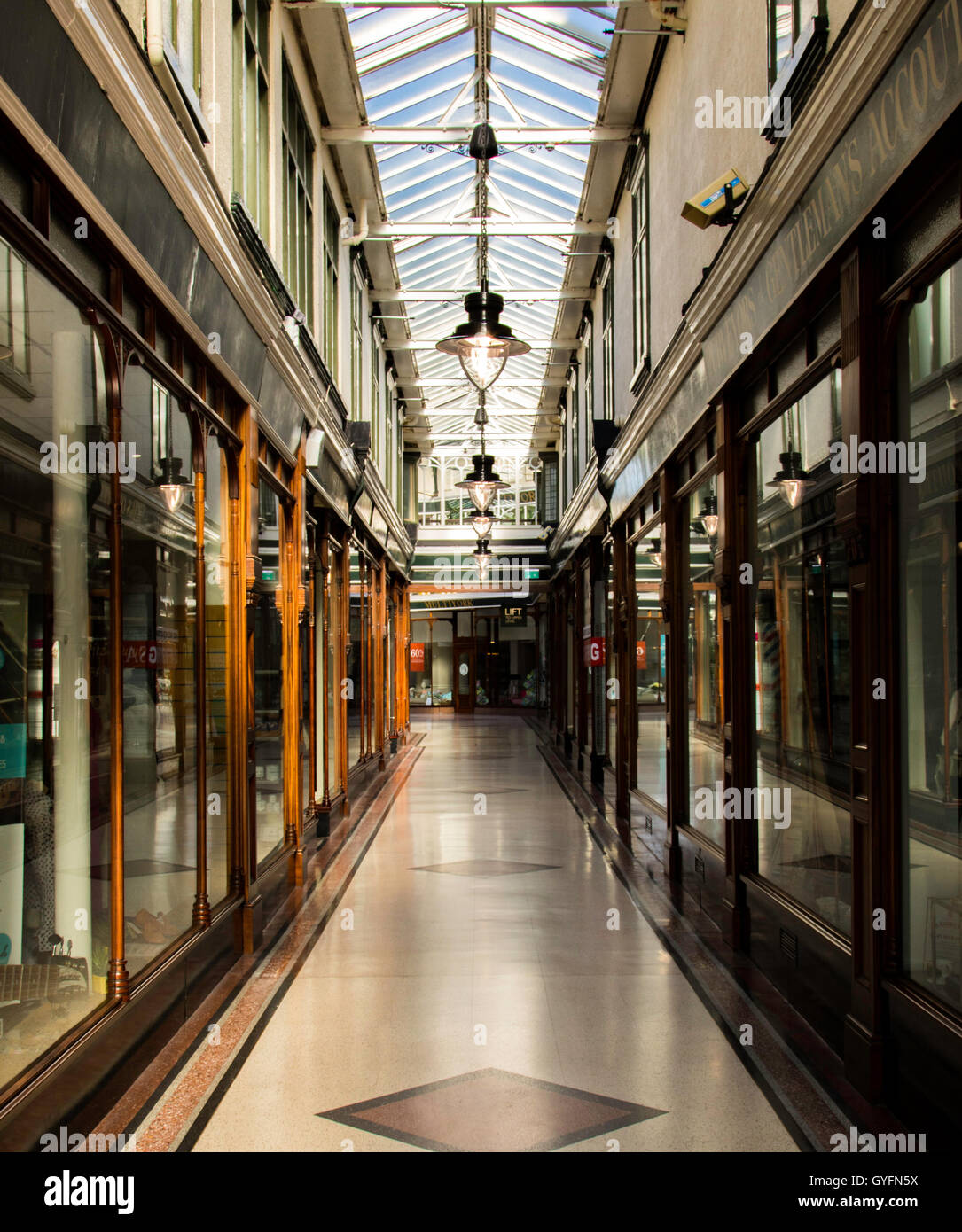 Victorian shopping Arcade in Southport. Stock Photo