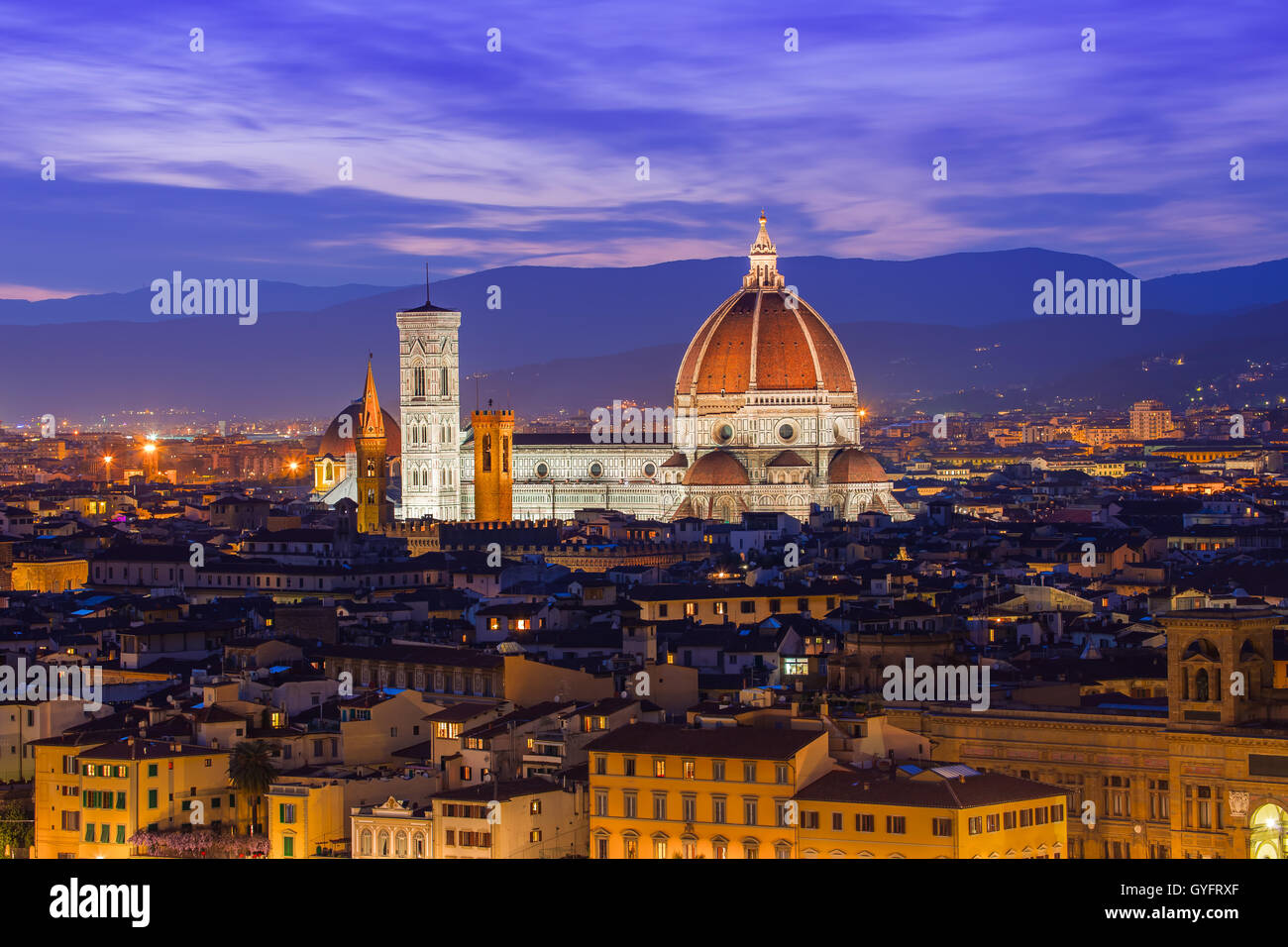 The twilight of Florence in Tuscany, Italy. - Stock Image
