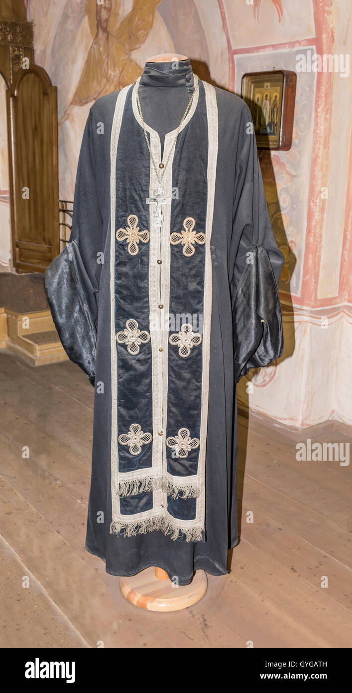 Moscow, Russia -September 04,2016: Priest (daily attire) in 'Mosfilm' Museum - Stock Image