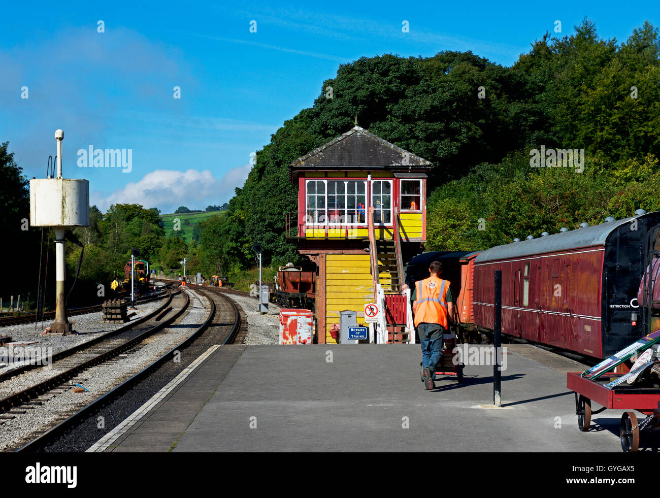 Bolton Abbey railway station, on the Embsay and Bolton Abbey Steam Railway, North Yorkshire, England UK - Stock Image