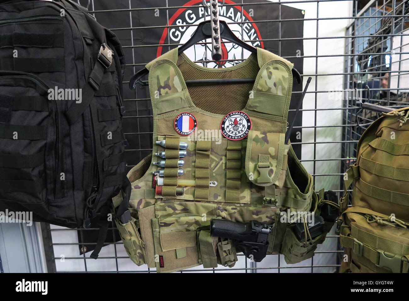 Tactical vest for soldier in Airsoft show , Paris , France - Stock Image