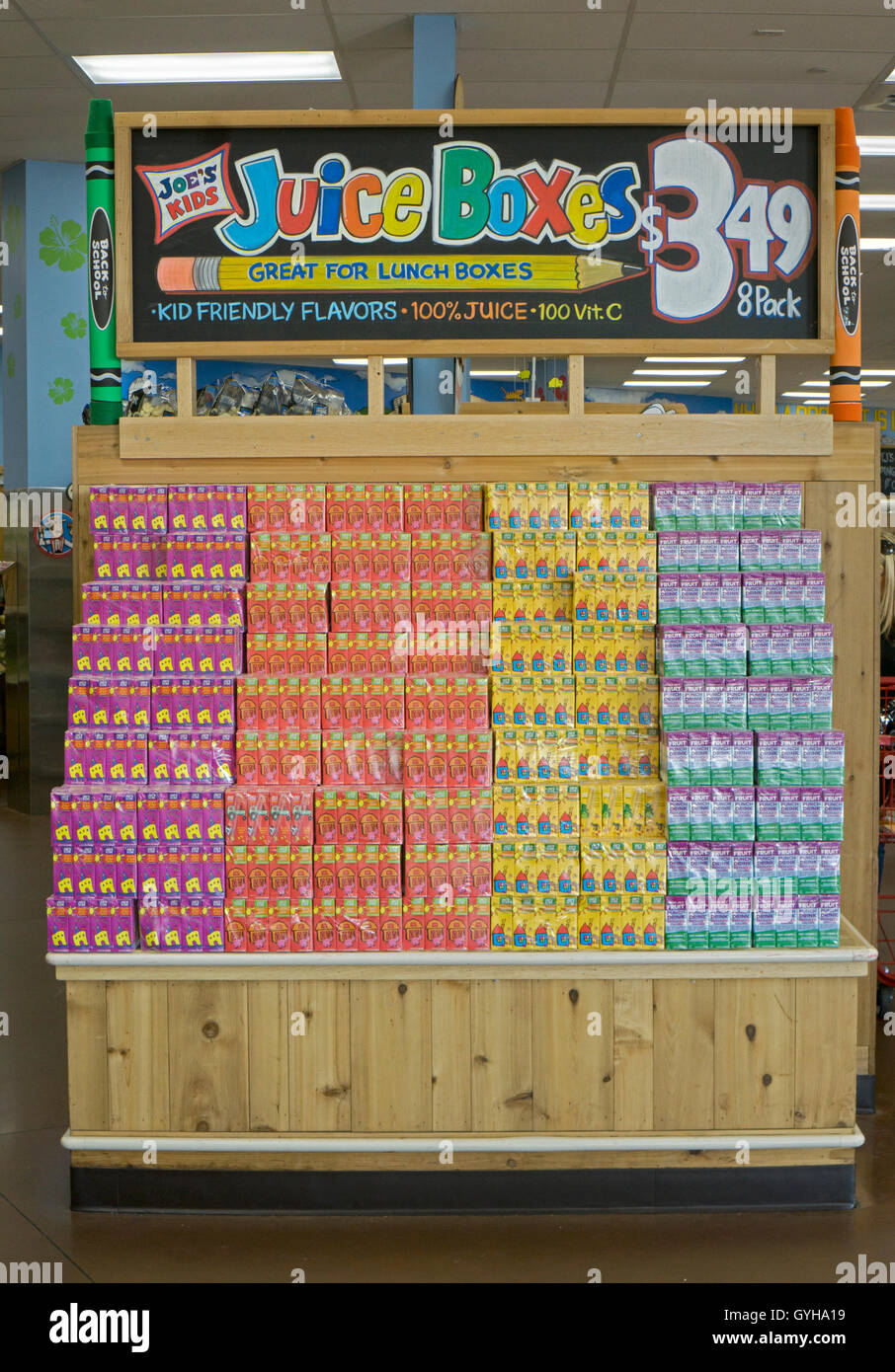 Children's juice boxes for sale at TRADER JOE'S on Old Country Road in Garden City Long Island, New York. - Stock Image