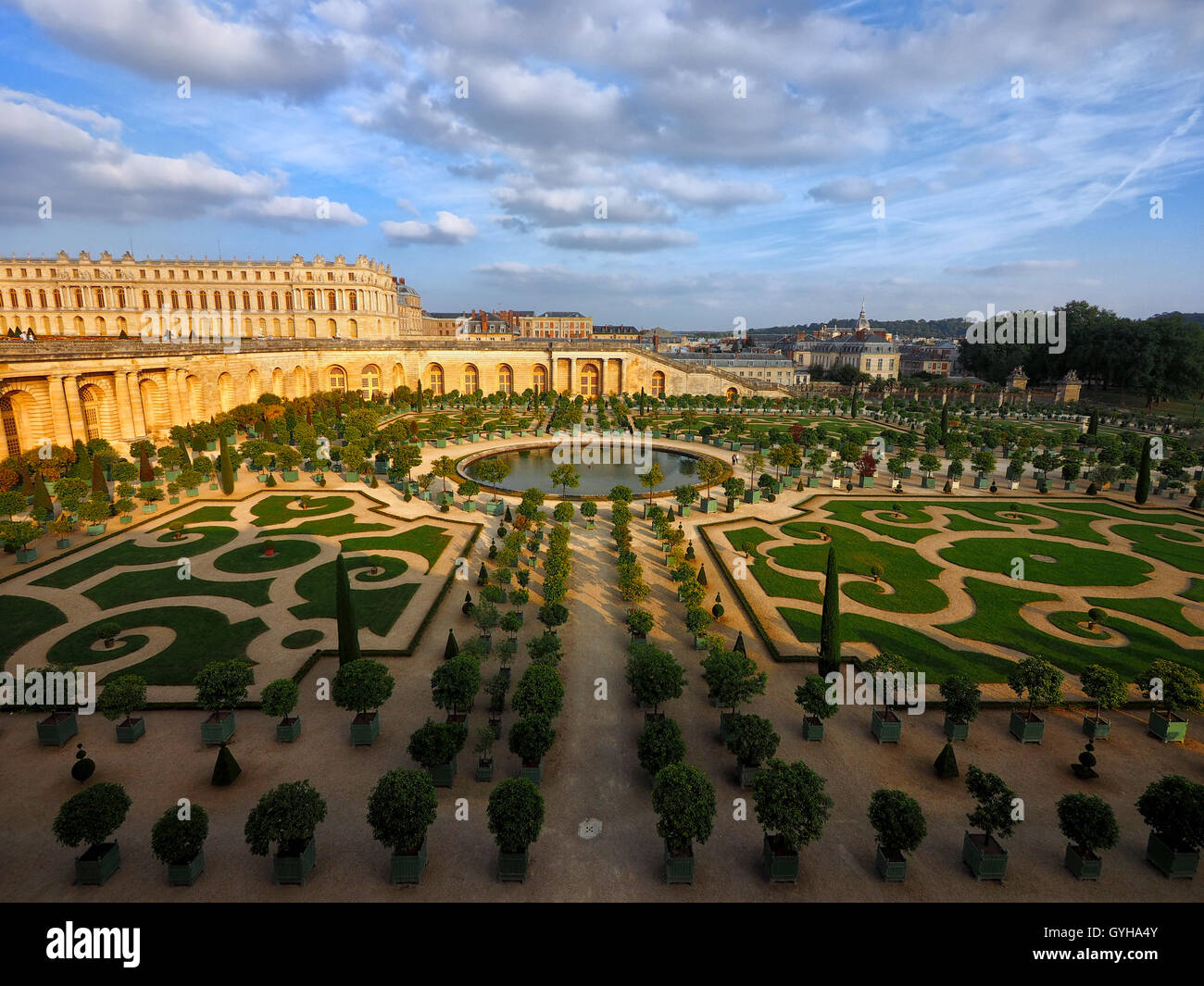 Overlooking L'Orangerie Palace Gardens, Palace of Versailles, France - Stock Image