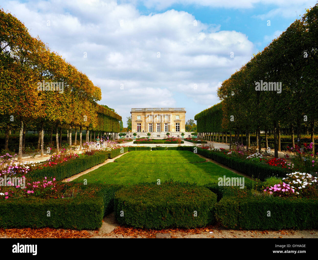 Northern Facade of the Petit Trianon on the grounds of the Palace of Versailles, Versailles, France - Stock Image