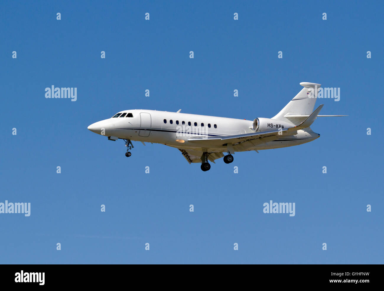 Dassault Falcon 2000S, HS-KPA, operated by King Power International on final approach to Copenhagen Airport, Kastrup, - Stock Image