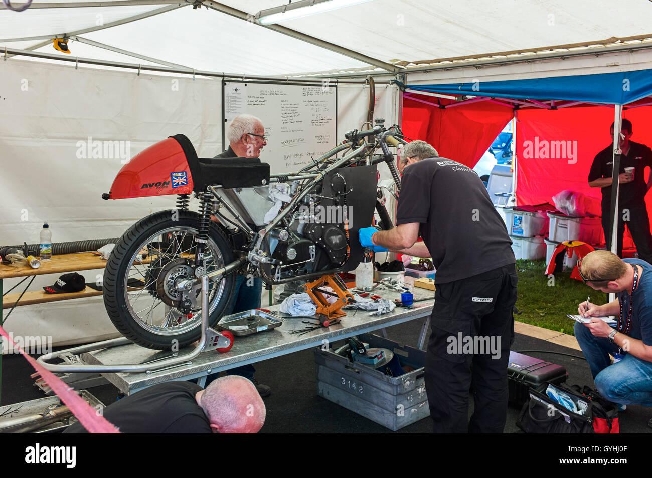Preparing bike for race in TT classic races 2016 - Stock Image
