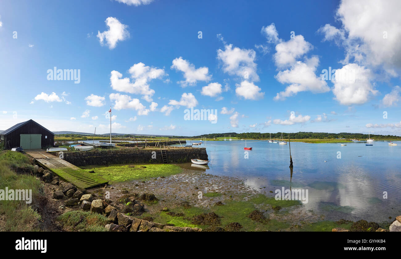 Wootton creek Isle of Wight tidal creek into the Solent panorama - Stock Image