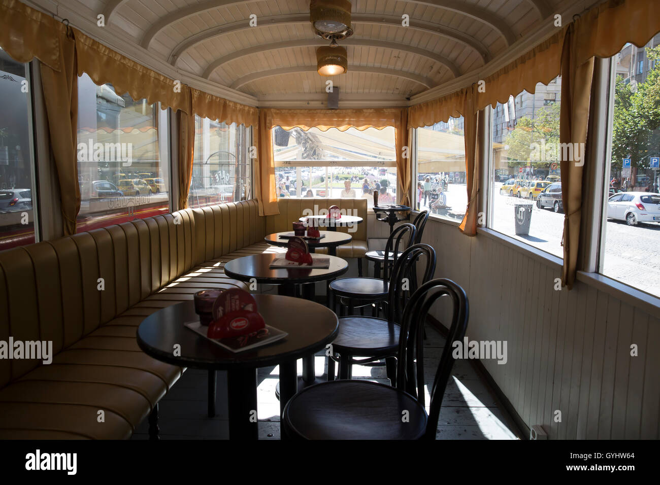 23eade9be647 The interior of an old tram which has been converted to a coffee shop in  Wenceslas Square Prague