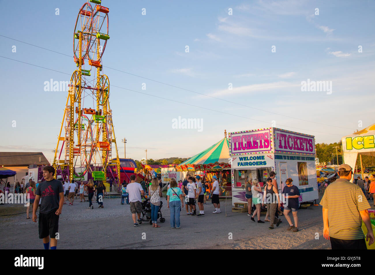 CLINTON, TN - JULY 2016: Scene from the last day of the Anderson County Fair on July 16, 2016 in Clinton, Tennessee. - Stock Image