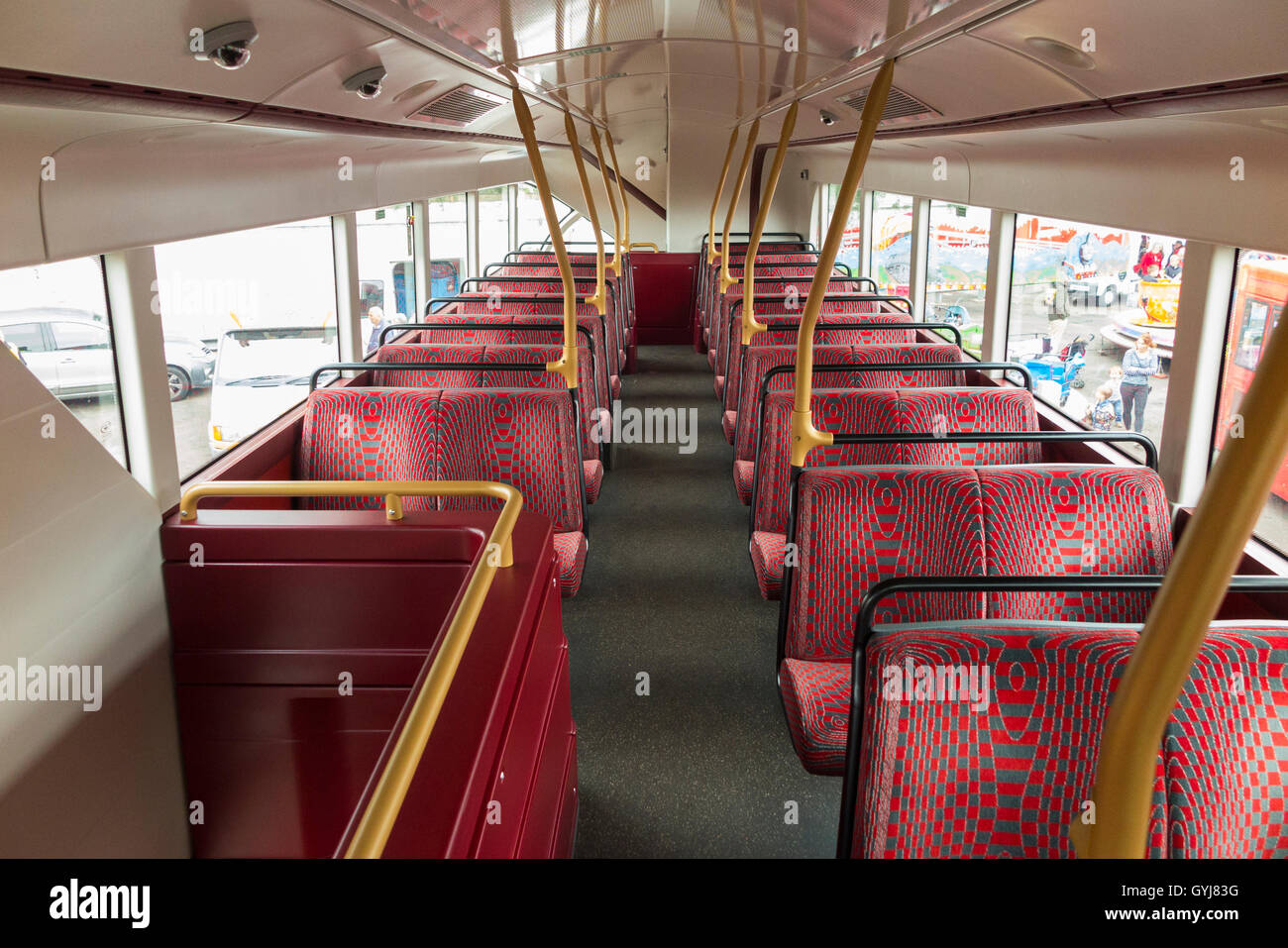 Routemaster double decker bus / bus's / buses top deck with seats / seat / seating. - Stock Image