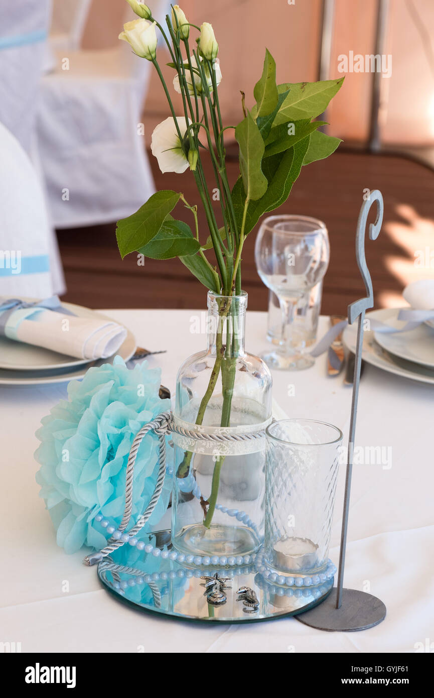 Wedding decoration in white blue in a nautical theme close stock wedding decoration in white blue in a nautical theme close junglespirit Images