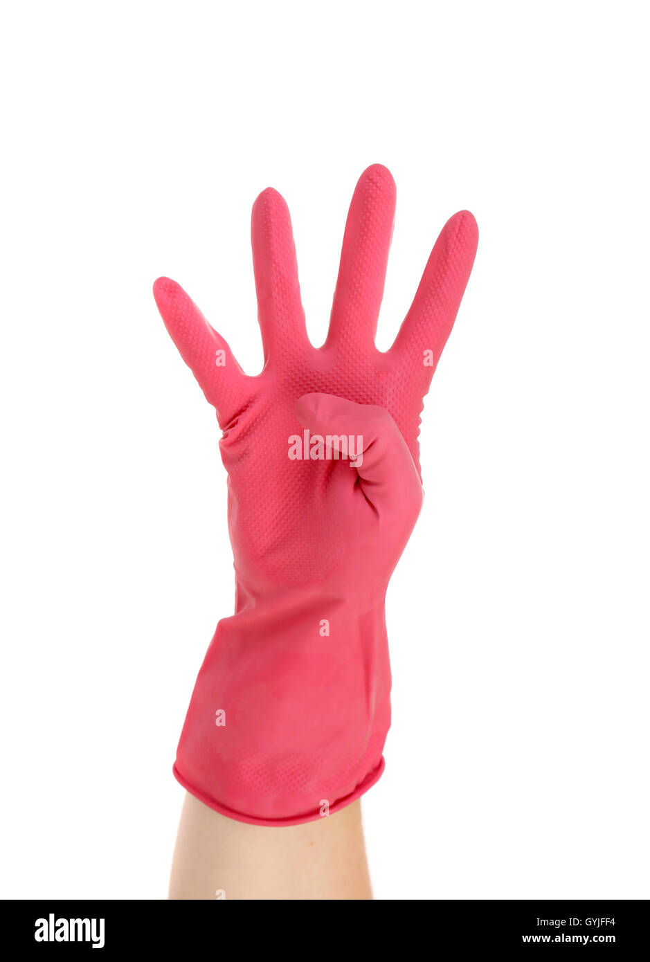 Hand shows four in red rubber glove. - Stock Image