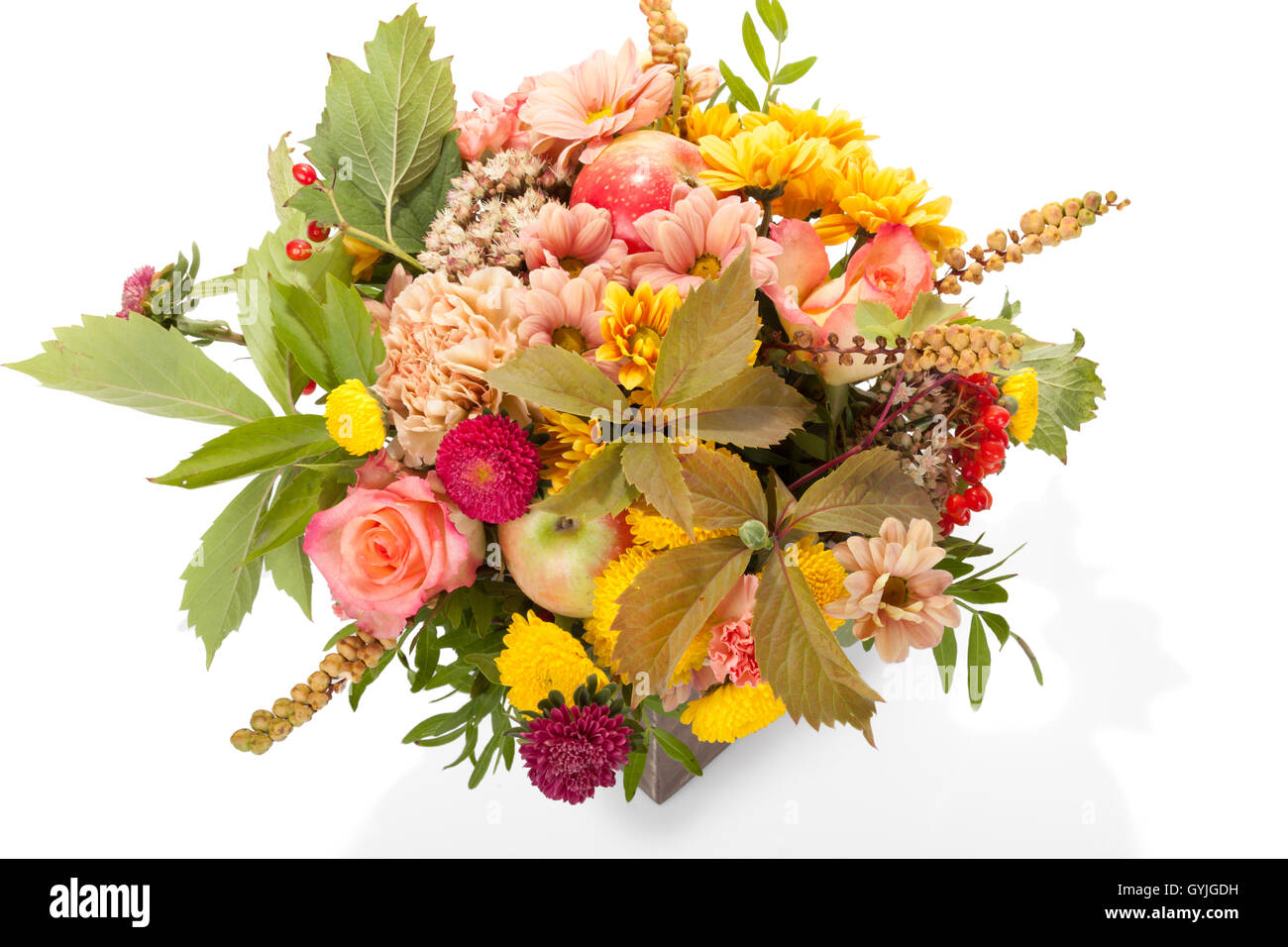 Autumn Flower Bouquet With Berries And Apple In Wooden Box Isolated