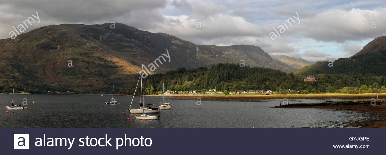 A panoramic image of Loch Leven from the village of Ballachulish near Glencoe - Stock Image